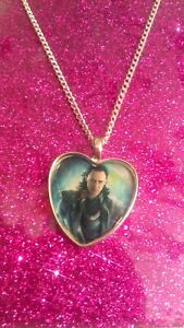 Silver Plated Heart Pendant Necklace Marvel Thor Loki