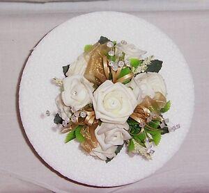 golden wedding flowers ivory & gold roses & crystals cake dec single topper
