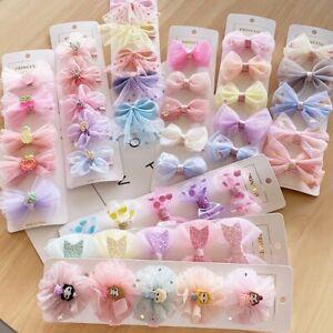5pcs Kids Baby Girls Children Toddler Flowers Hair Clip Bow Accessories Hairpin