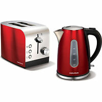 MORPHY RICHARDS ACCENTS RED STAINLESS STEEL 1.5L KETTLE AND 2 SLICE TOASTER SET