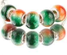 5pcs SILVER MURANO Gradient spacer beads fit European Charm Bracelet DIY #D931