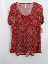 LuLaRoe Women's Classic T Hi Low Shirt Burgundy Floral in Large  NWT