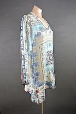NWT Johnny Was Top Tunic Dress Multicolor Blue SILK Floral Beach coverup S $218