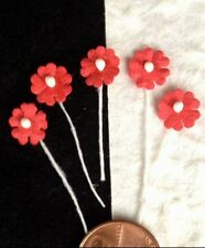 20 Flowers Tiny Red Handmade Mulberry Paper flower pollen Miniatures dolls Hats