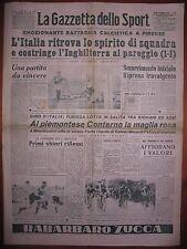 LA GAZZETTA DELLO SPORT 19/5/1952 calcio Italia 1  Inghilterra 1