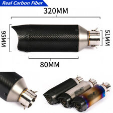 320mm Length Real Carbon Fiber+Stainless Steel Motorcycle Exhaust Escape Pipe x1