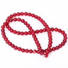 Perle Ronde Corail Rouge Naturel En Vrac 15.5 Pouces 4mm / 115 perles