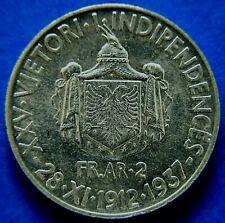 More details for albania: king zog i, 1937r silver 2 franga  ari.                       ch9-323