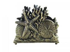 "New listing Antique Gold Cast Iron Seashell Napkin Holder 7"" - Seashell Decoration - Beach K"