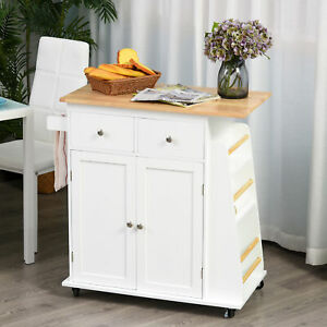 HOMCOM Kitchen Island Storage Cabinet Rolling Trolley with Rubber Wood Top