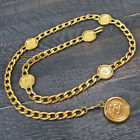 CHANEL Gold Plated CC Logos Medal Charm Vintage Chain Belt #7073a Rise-on