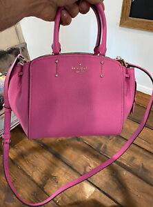 Kate Spade Mini Tegan Small Pebbled Leather Satchel Messenger Bag Bright Peony