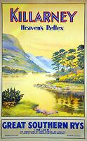 Killarney Ireland  Vintage painting art Travel Poster Print Framed Canvas