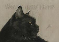black cat Schwarze Katze orig. Gemälde Kohle drawing charcoal Kohle by WuH 11