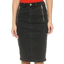 Marc Jacobs Black Stone Wash Denim Zip Pencil Skirt NWT $238 Size 26