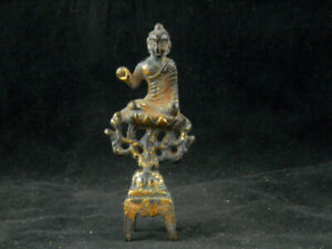 4.1 Inches Antique Chinese Brass W/Gold Hand Made *Buddha* Statue