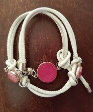 New Otherwise Jewelry Nappa White Leather Stiched Bracelet- 3 Pink Agate Stones.