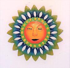 "OUTDOOR 9 "" METAL HAITIAN SUN W/ORANGE FACE TROPICAL WALL HANGING TIKI ART DECOR"