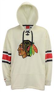 Reebok Men's Chicago Blackhawks White Face Off Pullover Hoodie, 2XL