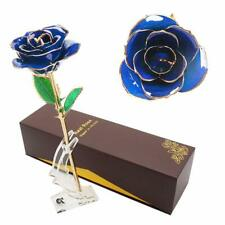 LOVAC Gold Dipped Rose 24k Eternity Rose with Transparent Stand Blue