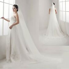 Brides Bridal Ivory Cathedral Length Veil 1 Tier Soft Tulle Cut Edge With Comb
