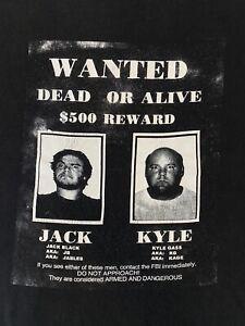 Vintage Tenacious D Jack Black Kyle Gass Wanted T Shirt 90s 00s Band Black XL