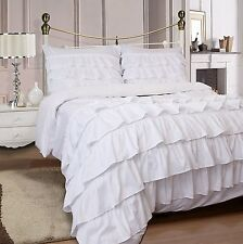 Miley Ruffled 3-Piece Duvet Cover Set Microfiber with Pillow Case - Queen White