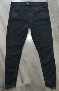 MOTHER The LOOKER Low Rise Skinny Jeans in Dare I Be Happy Black Sz 31