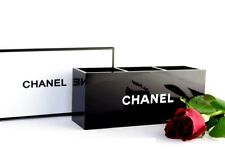 "CHANEL Beauty GIFT Black Glossy Makeup Brush Holder Long Style ""3 Slots With BOX"