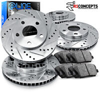"""Brake Rotors FRONT+REAR KIT ELINE """"DRILLED AND SLOTTED"""" & CERAMIC PADS RA05081"""
