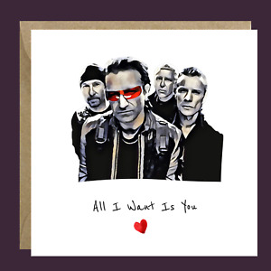 Handmade U2 BONO Funny Retro Rock Valentine's Card Him Her Wife Husband Partner