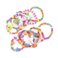12X Lovely Kids Children Wood Elastic Bead Bracelets Birthday Party Jewelry Gift