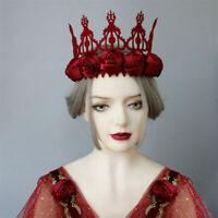 Women's Fancy Dress Red Rose Hair Band Party Costume Crown Headband Headwear
