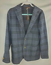 NWT Robert Talbott Estate RHUS Soft Coat Blazer M Medium Virgin Wool Navy Plaid