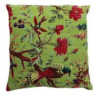 "BIrd Print Kantha Handmade Pillow Indian Cushion Cover Home Decor Sofa Throw 16"""
