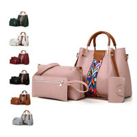4 Pcs Leather Handbag Cross Body Shoulder Bag Purse Card Bag Set for Women