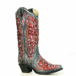 Corral Ladies Black-Red Glitter Inlay & Crystal Boots A3534