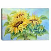 Designart - Three Sunflowers - Floral Canvas Art Print -  Small