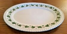 "Vintage Harker Pottery Royal Gadroon Green Ivy Serving Platter Dish 13"" MCM"