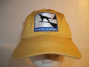 Mystic Clippers Adjustable Baseball Hat Cap Strapback Yellow dog sailboat