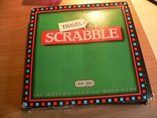 TRAVEL SCRABBLE GAME PADDED CASE AND BOX WITH PUSH IN TILES USED
