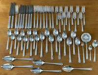 1945 BORDEAUX 55pc LOT FLATWARE GRILL STARTER SET PRESTIGE SILVER PLATE