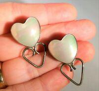 Vintage Navajo Indian RARE Wilbur Wauneka Earrings Silver Mother of Pearl Heart