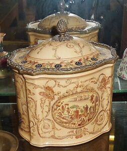 Rare Early Continental China Shaped Tea Caddy and Cover