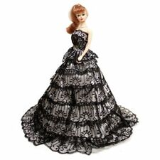 Black & White Gown with Ruffles Ball Gown Wedding Gown for 11.5 inches Doll