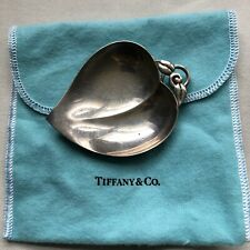 Tiffany & Co Sterling Silver Candy / Nut Bowl Small Dish Leaf Handle Pouch