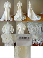 VINTAGE CHRISTOS LACE IVORY FORMAL LONG TRAIN WEDDING DRESS GOWN