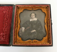 SHARP DAGUERREOTYPE BEAUTIFUL WOMAN W/TINTED JEWELRY BY ADDIS LANCASTER GALLERY