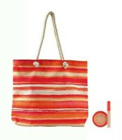 Ulta 3-piece Multi Striped Tote With Full Size Bronzer And Full-size Lip Gloss