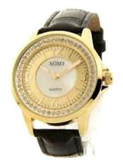 xo3305 Women's Rhinestone Accent Gold-Tone Leather-Look Watch